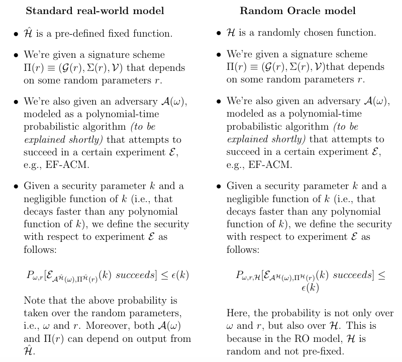 Monero, Standard model vs. Random Oracle model