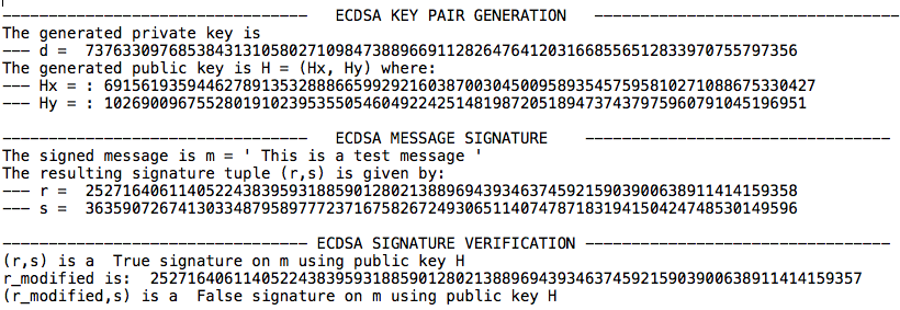 ecdsa test output